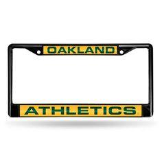 Oakland Athletics MLB Laser Cut Black License Plate Frame
