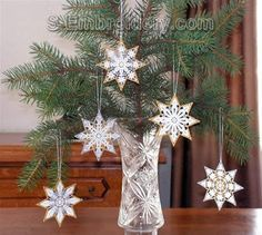 10385 Free standing lace star ornaments set