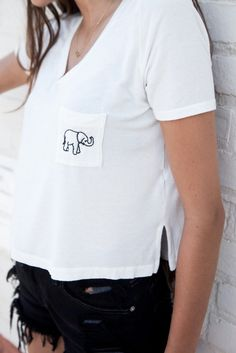 Brandy ♥ Melville   Jennah Elephant Embroidery Top - Graphics