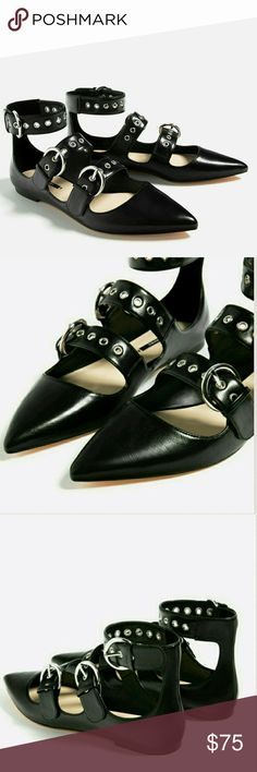 NWT ZARA SEXY STRAPY BALLET FLATS BRAND NEW NWT ZARA SEXY STRAPY BALLET FLATS BRAND NEW UNWORN WITH TAGS ATTACHED Zara Shoes Flats & Loafers