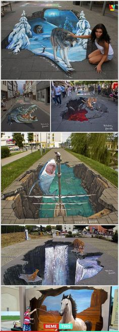 This amazing artist creates incredibly realistic .- Dieser erstaunliche Künstler schafft unglaublich realistische This amazing artist creates incredibly realistic artworks … - Illusion Kunst, Illusion Art, 3d Street Art, Amazing Street Art, Pavement Art, 3d Chalk Art, Urbane Kunst, Sidewalk Chalk Art, 3d Drawings