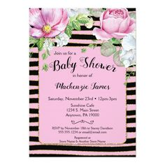 Floral Stripes Bridal Shower Invitation Pink Black Custom #babyshower invitations - Make your special day with these personalized #baby #shower #invitations change the colors font and images and make them your own.