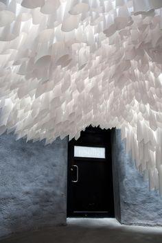 Paper Drawing of the exhibition Østlandsutstillingen at Buskerud Kunstsenter in Drammen, Norway. Paper Light, Light Art, Ceiling Decor, Ceiling Design, Paper Drawing, Paper Art, Espace Design, Paper Installation, Plafond Design