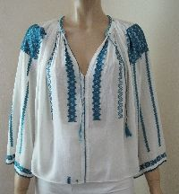 Antique Romanian blouse from Transylvania .