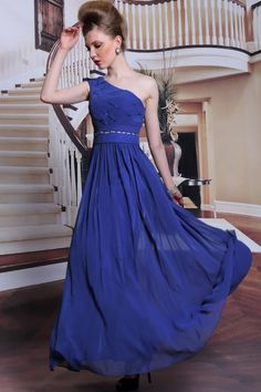 シルエット効果! ワンショルダーのSEXYブルーロングドレス♪ - ロングドレス・パーティードレスはGN|演奏会や結婚式に大活躍!