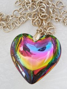 Vintage Glass Pendant Large Rainbow Puffy by KKCollectibleCollage, $8.00 https://www.etsy.com/listing/167829291/vintage-glass-pendant-large-rainbow