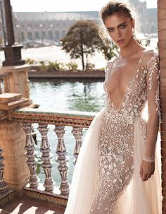 Sexy Wedding Dresses Flowers V Neck Long Sleeves Bridal Gowns With Overskirt Couture Wedding Gowns, Sexy Wedding Dresses, Cheap Wedding Dress, Bridal Dresses, Sexy Dresses, Bridesmaid Dresses, Bridal Collection, Dress Collection, Couture Collection