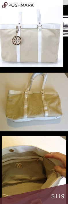FINAL💥Tory Burch Summer Tote✨ Authentic Tory Burch, Style is Jane, canvas tan and white patent leather trim and handles. Has a spot on the front but otherwise in excellent used condition. Measures 15 x 12 x 7.75 Tory Burch Bags