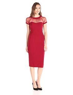 a6cc10a420f Amazon.com  S.L. Fashions Women s Mesh Illusion Top Exposed Back Zipper  Column Sheath Dress
