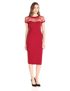 S.L. Fashions Women's Mesh Illusion Top Exposed Back Zipper Column Sheath Dress, Red, 12 - http://best-women-shop.xyz/2016/06/14/s-l-fashions-womens-mesh-illusion-top-exposed-back-zipper-column-sheath-dress-red-12/