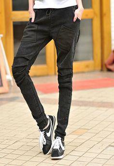 Fashion Pockets Thick Slim Skinny Jeans Harem Pants Stretchy Trousers