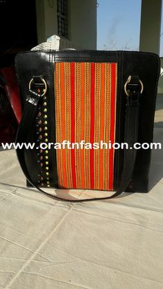 Indian Fusion Kutch Fabric Banjara Women's Shoulder Bag. #Craftnfashion #LeatherHandbag #LatestDesignHandbag #ShoulderBags #FashionBags #ToteBags #IndianFusionHandbag #HandmadeLeatherHandbags #BanjaraStyleLeatherHandbag #KutchHandcraftedHandbag # WomenLeatherHandbag Fringe Handbags, Mirror Work, Signs, Leather, Native Americans, Shop Signs
