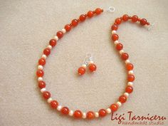 Carnelian and freshwater pearls set