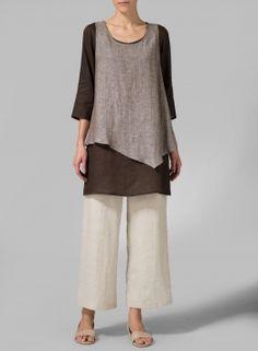 Linen Double-Layer Wrap Top
