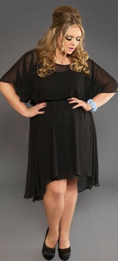 Black dress and black shoes plus size
