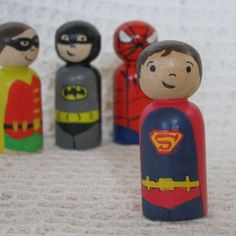 Handpainted Superhero Wooden Peg Doll toy. Superman from Twinkle Kids Leanne Cornford | Blue Caravan Ethical Design Market