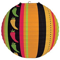 Spice up your celebration with our Fiesta Grande Lantern! This colorful paper lantern is a must for a Fiesta or Cinco de Mayo party. Printed with stripes and Mexican Fiesta Party, Fiesta Theme Party, Party Themes, Party Ideas, Hanging Lanterns, Paper Lanterns, Wholesale Party Supplies, Fiesta Decorations, Colorful Party
