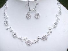 Bridal jewelry set crystal flower wedding jewellery set rhinestone necklace and earrings diamante wedding jewelry bridesmaid jewellery gift by SheRocksJewellery on Etsy https://www.etsy.com/listing/242701535/bridal-jewelry-set-crystal-flower