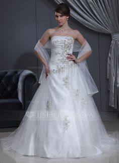 [US$ 214.99] Ball-Gown Sweetheart Chapel Train Charmeuse Tulle Wedding Dress With Ruffle Beading Appliques Lace