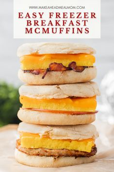 Made with baked eggs, melted cheese and various breakfast meats all stacked together on hearty English muffins, these make-ahead Freezer Breakfast Sandwiches are an easy, delicious option to get a hot breakfast on the table quickly on busy mornings! #freezermeals #freezerfriendly #mcmuffins #easybreakfast #breakfast #freezer #makeahead Breakfast Meat, Make Ahead Breakfast Sandwich, Breakfast Options, Healthy Freezer Meals, Make Ahead Meals, Freezer Cooking, Morning Food, Hot Dog Buns, Food Dishes