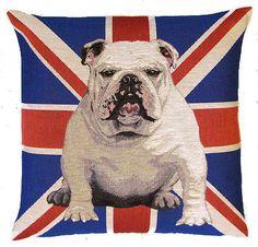jacquard woven belgian tapestry cushion pillow english bulldog with Union Jack