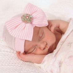 9af04c46f74 Hospital Newborn Baby Hat Rhinestones Big Bow Knot Cotton Cap Infant Toddler  Comfortable Soft Knit Photography
