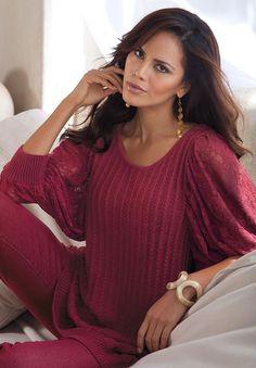 Plus Size Lace Sleeve Sweater by Denim 24/7 | Plus Size Sweaters | Roamans $70