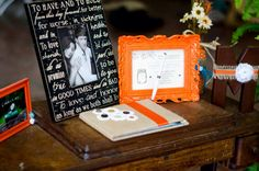#guestbook #orange #turquoise #brown #burlap #wood #masonjar #wedding #rustic #county #fall  #HughesMarseeWedding13