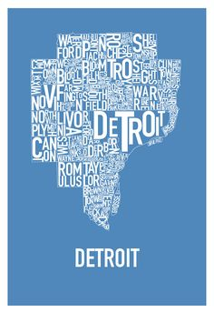 """Detroit Typography Map Poster """"Lions"""" Blue"""