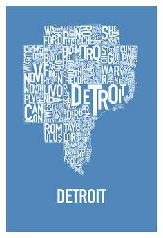 Detroit map heart 11x14 print best detroit ideas detroit typography map poster lions blue gumiabroncs Images