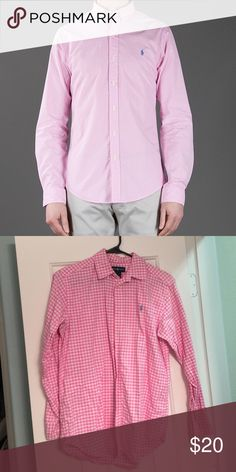 Polo Ralph Lauren Gingham Shirt. Polo Ralph Lauren Men's Customfit Gingham Shirt. Heavy cotton, best suited with khakis or jeans. Pink and White Gingham print, light blue horse. It was for my son but I occasionally wore with the sleeves rolled up with a pair of shorts and flip flops. Boys Sz L(14-16), fits Ladies S/M. Great shape, no rips, no stains! Polo by Ralph Lauren Tops Button Down Shirts