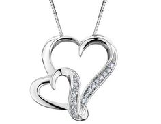 Diamond Heart Pendant 1/7 Carat (ctw) in Sterling Silver with Chain
