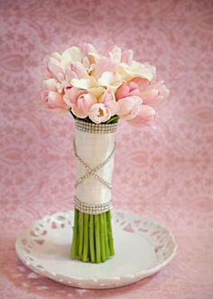 Glam bouquet of pink and white tulips by Tony Foss Flowers in @Jan Evans 2 Perfection's All in the Details design. Photo by Kristen Edwards Photography.