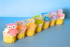 Edible Owls - cake and cupcake toppers by Sugar Robot