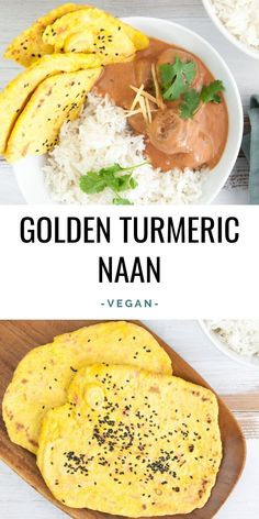 Golden Turmeric Naan - it's the perfect flatbread for all your curries! The bright yellow color adds a lovely color splash onto your plate! Best Vegan Bread Recipe, Naan Recipe, Delicious Vegan Recipes, Vegetarian Recipes, Turmeric Recipes, Superfood Recipes, Detox Recipes, Healthy Recipes On A Budget, Raw Food Recipes