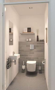Space Saving Toilet Design for Small Bathroom is part of Luxury bathroom tiles In the event that you are one of the a huge number of individuals around the globe who needs to bear the claustrophobia - Small Downstairs Toilet, Small Toilet Room, Downstairs Bathroom, Bathroom Grey, Master Bathroom, Office Bathroom, Simple Bathroom, Guest Toilet, Bathroom Modern