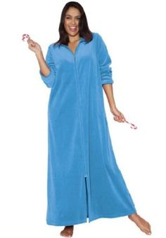 Dreams & Co. Plus Size Petite Long Hooded A-Line Velour Plus Size Robe By Dreams & Co. Bluebell,2X DREAMS. $22.49