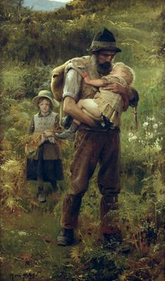 """I cannot think of any need in childhood   as strong as the need for a father's protection.""  ~Sigmund Freud  (A Heavy Burden ARTHUR HACKER c. 1919 ENGLISH)  Simply Genre©"
