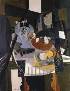 Still Life With Fruit Dish, Bottle And Mandolin by Georges Braque