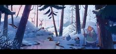 """""""Lovely painting from one of our layout and color background artists working on 'Klaus', Betty Sourigues! Environment Painting, Environment Concept Art, Environment Design, Winter Landscape, Landscape Art, Spa Studio, Animation Background, Visual Development, Environmental Art"""