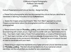 Culture Presentations and Cultural Identity - Assignment #15