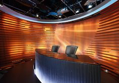 APTN News Set, Winnipeg    We designed and had fabricated the Aboriginal People's Television Network news set - based on a new brand concept by Identica www.identica.com. Lighting, backdrop, color scheme and foreground can all be changed within seconds, to correspond to programs such as entertainment and talk shows.  Image courtesy Waddell and Conder, flickr.com
