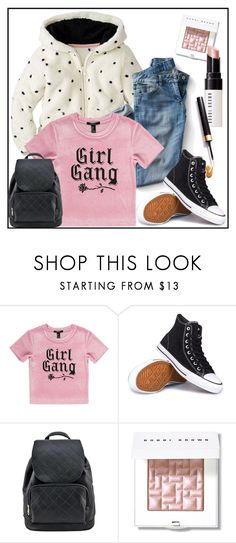 """""""Girl Gang"""" by annazonno ❤ liked on Polyvore featuring Forever 21, Converse and Bobbi Brown Cosmetics"""