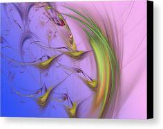 Marina Usmanskaya Canvas Print featuring the digital art Birds At Dawn by Marina Usmanskaya MarinaUsmanskayaDigitalArt, Abstract, Birds, Fractal, FineArtPrints, ArtForHome