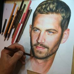 Colored pencils drawing of Paul Walker ❤️ By @evgeny_jackpot _ Whats your favorite movie?