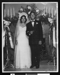 Couple pose on their wedding day, circa 1941/1950, Los Angeles