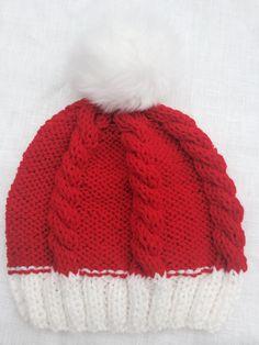 20%OFF Santa red hat Pom Pom Hat slouchy beanie by KnitSew4U