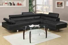 "2 pc Zorba modern style black leather like vinyl Sectional sofa with adjustable headrests and tufted seats with chrome legs. This set features a leather like vinyl upholstery with tufted seats and adjustable headrests with chrome legs. Measures 106"" x 77"" x 29"" H . Some assembly required. SKU 	F7310"