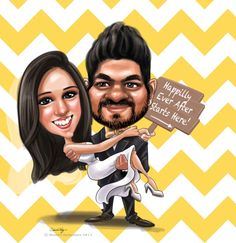 Custom Caricatures illustration from photos for Wedding invitations/ Save the date/ guests sign in board/ Chevron