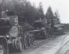 A column of tanks Finnish taken. Note the peculiarity of BT can move without their caterpillars.